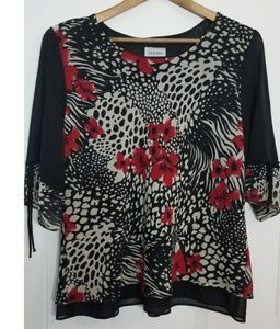 Black and Red Blouse Size XL